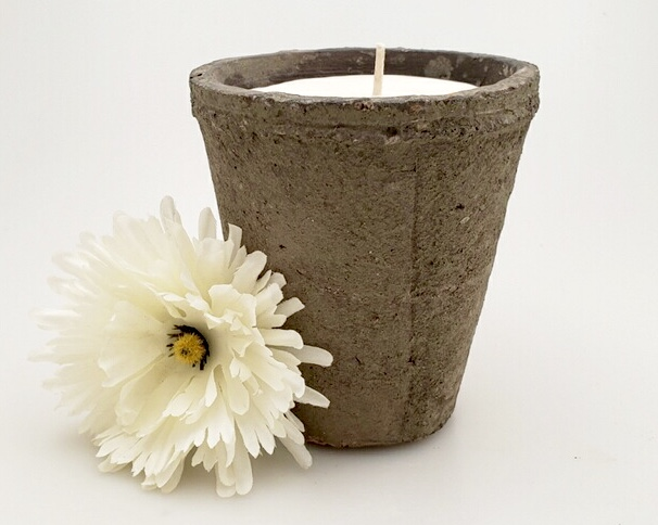 Flower Garden Concrete Pot Candle